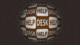Decorative brown and white video with rotating sphere and text help desk Animation