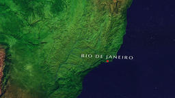 Rio de Janeiro - Brazil zoom in from space Animation
