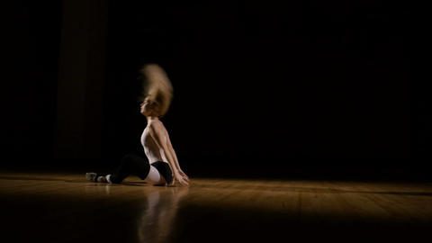 Passionate girl dancer warming up for dance show Footage
