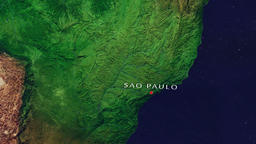 Sao Paulo - Brazil zoom in from space Animation
