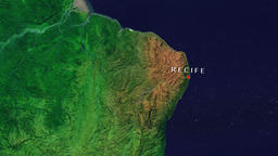 Recife - Brazil zoom in from space Animation