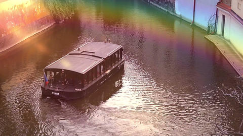 Tour boat with tourists floating on river Footage
