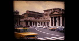 1971 - Vatican Italy - car traffic in Plaza de San Pedro and St Peter s Basilica Footage