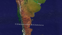 Comodoro Rivadavia - Argentina zoom in from space Animation