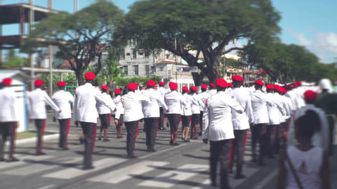 Military parade. Soldiers in ceremonial uniforms walking along city street Footage