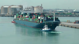 Spain Barcelona 003 big container cargo ship comes into harbor