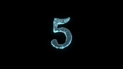 The Number 5 Of Ice Isolated On Black With Alpha Matte Animation