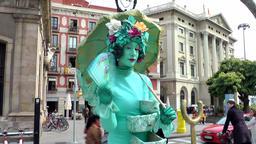 Spain Barcelona 014 pantomime street performer in La Rambla Footage
