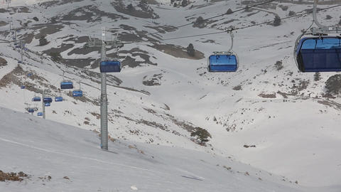 Running Empty Chair Lifts at Ski Centre Footage