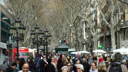 Spain Barcelona 017 crowd of people on median of La Rambla Footage