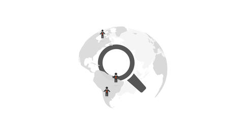 Human resource world, magnifying glass searching people, globe rotating loop