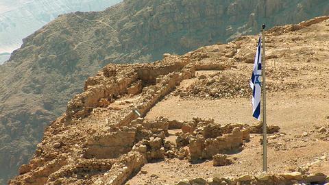 Flag of Israel in Masada Image