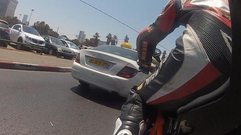 motorbike motorcycle Tel Aviv city rider riding biker... Stock Video Footage