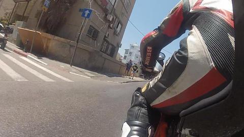 motorbike motorcycle Tel Aviv city rider riding biker... Stock Video Footage