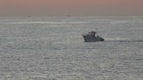 Motor boat sailing on the sea at dawn Footage