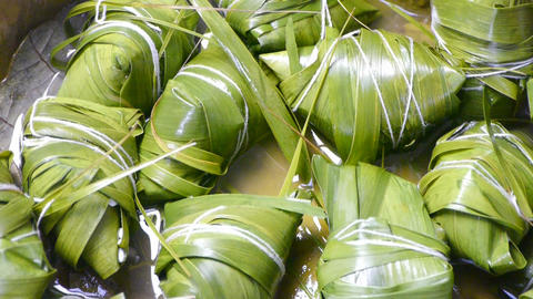 Rotation of rice dumplings of glutinous rice Stock Video Footage