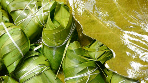 Rotation of rice dumplings of glutinous rice,dumplings leaf Stock Video Footage