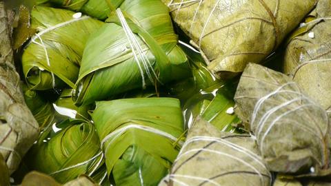 Rotation of rice dumplings of glutinous rice Stock Video Footage