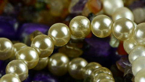 pearl necklace,gorgeous gemstones jewelry Stock Video Footage