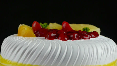 delicious fruit cake,cherry,tomato,pineapple Stock Video Footage