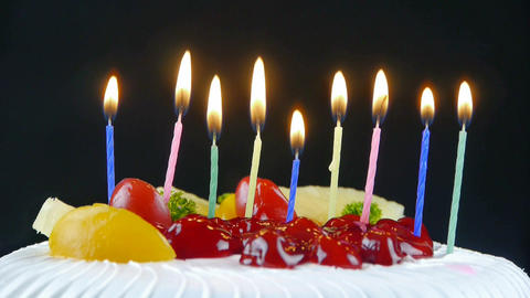 Lit the candles on the cake Stock Video Footage