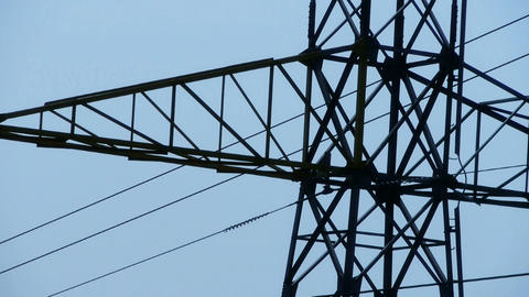 High-voltage wire tower,clear from the fuzzy variable Stock Video Footage