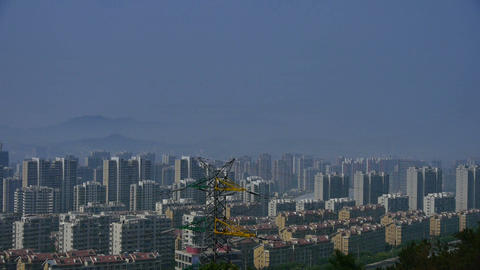 Panoramic of high-voltage wire tower in urban... Stock Video Footage