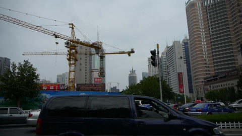 Urban intersection street,Busy people,crane... Stock Video Footage
