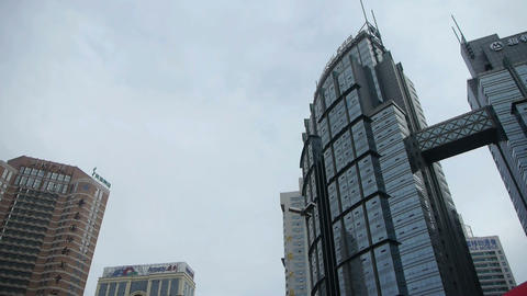 Urban intersection street,Busy people,glass curtain wall Stock Video Footage