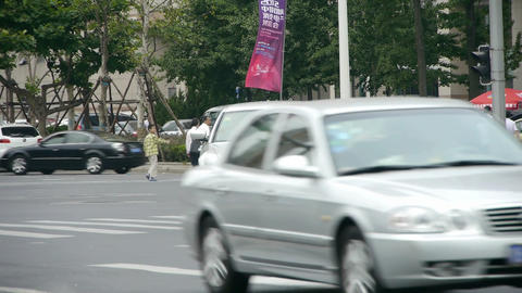 Urban intersection street,traffic cars,Busy people,zebra Stock Video Footage