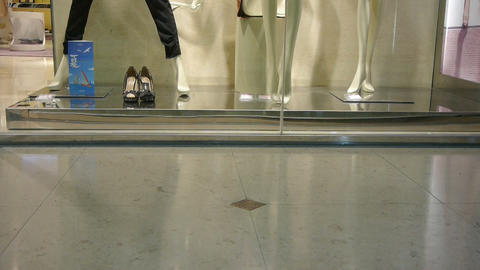 Pedestrian footsteps in the mall before the showcase... Stock Video Footage