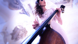 woman play doublebass contrabass jazz orchestra bass play... Stock Video Footage