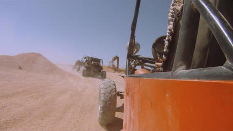buggy in the desert sequence Stock Video Footage