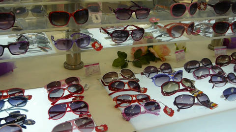 sunglasses at the mall Stock Video Footage