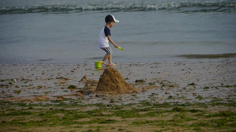 Child play digging sand at the beach.Dune,tide,tidal Stock Video Footage