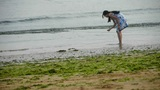 Beautiful woman at beach.tide,tidal Footage
