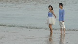 The Happy Couple At Beach.tide,tidal stock footage