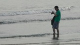 photographer taking pictures at sand beach.tide,tidal Footage