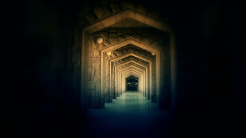 Mysterious Ornate arches corridor Stock Video Footage