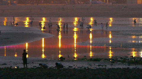 Tourist play at sand beach.Neon reflection in inlet.tide,tidal Footage