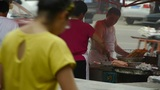 Roadside Snack Bar Cooking,China Town Fairs Market,selling Fritters,crowded Street Traffic stock footage
