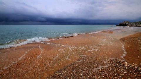 rainy night on the beach Stock Video Footage