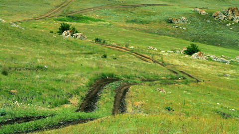 road in steppe Stock Video Footage