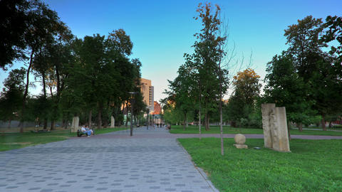 time lapse of evening park. Ukraine, Dnepropetrovsk Stock Video Footage