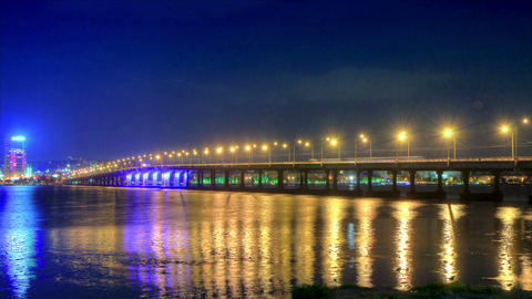 time lapse night traffic on the bridge over the Dnieper... Stock Video Footage