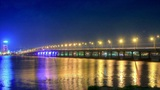 time lapse night traffic on the bridge over the Dnieper River Footage