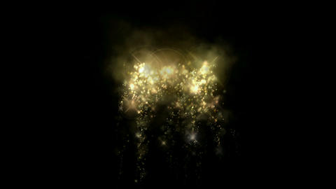golden fireworks & falling stars particles as holiday background Animation