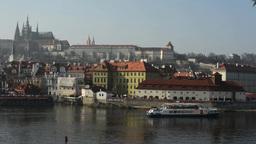 PRAGUE, CZECH REPUBLIC - MARCH 2014: Prague Castle and the Vltava with ship sail Footage
