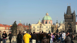 PRAGUE, CZECH REPUBLIC - MARCH 2014: Timelapse of the Charles Bridge with people Footage