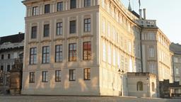PRAGUE, CZECH REPUBLIC - SEPTEMBER 2013: Prague Castle (sunny morning) - forepar Footage